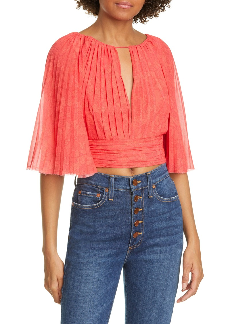 AMUR Daniela Pleated Crop Blouse