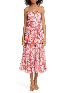 AMUR Darla Floral Print Silk Midi Dress