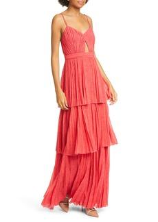 AMUR Dominique Lace Print Tiered Maxi Dress