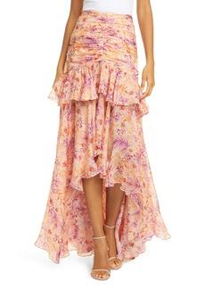 AMUR Fie Floral Silk High/Low Skirt