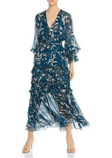 Amur Floral-Silk Balloon-Sleeve Maxi Dress