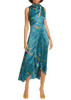 AMUR Georgia Tie Neck Floral Print Silk Midi Dress