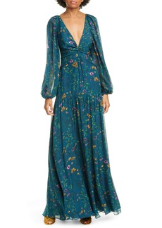AMUR Gwenevere Floral Print Long Sleeve Silk Maxi Dress