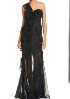 AMUR Harlow Ruffle One-Shoulder Silk Gown