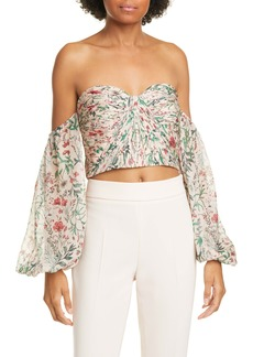 AMUR Helena Floral Off the Shoulder Silk Crop Top