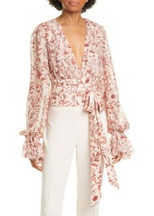 AMUR Helene Tie Waist Floral Silk Top