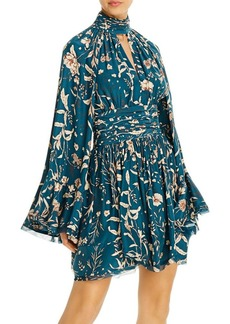 Amur High-Neck Floral Silk Mini Dress