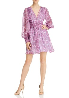 Amur Indie Paisley-Floral Silk Mini Dress