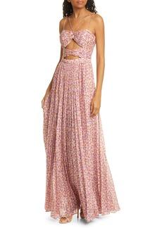 AMUR Lana Floral Print Cutout Bodice Maxi Dress