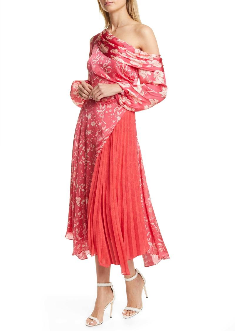 AMUR Lorraine One-Shoulder Asymmetrical Midi Dress