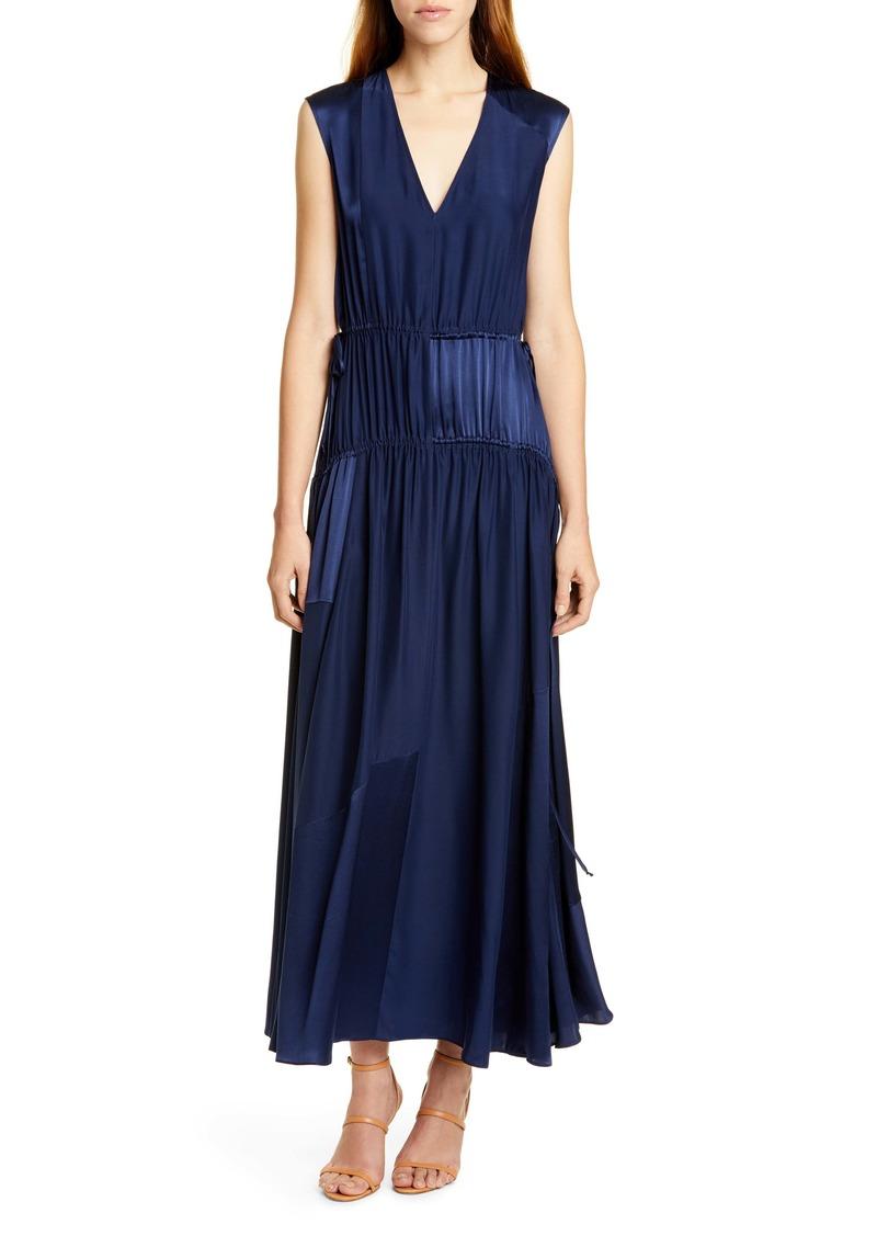 AMUR Lotta Cinched Satin Panel Silk Maxi Dress