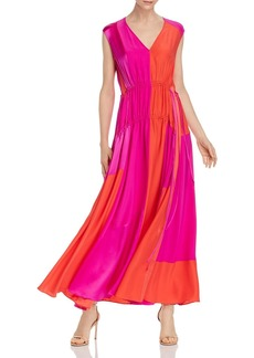 Amur Lotta Color-Blocked Silk Maxi Dress