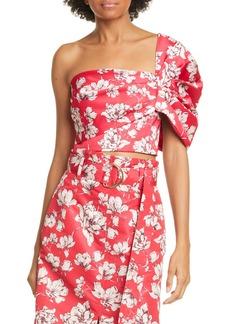 AMUR Lucia Floral One-Shoulder Crop Top