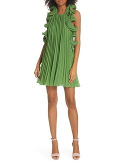 AMUR Mimi Pleated Ruffle Dress