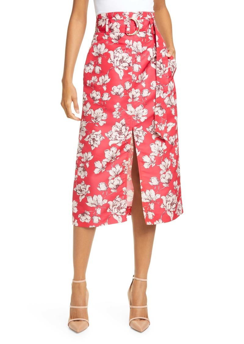 AMUR Odina Floral Print High Waist Skirt