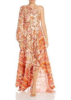Amur Piper Silk Asymmetric One-Shoulder Maxi Dress