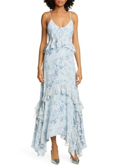AMUR Promise Floral Print Silk Maxi Dress