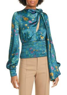 AMUR Ray Tie Neck Floral Print Silk Top
