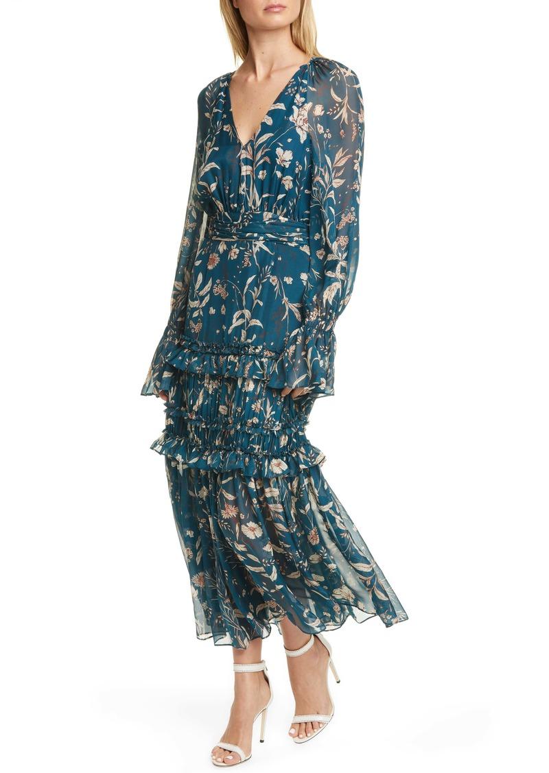 AMUR Reah Floral Print Long Sleeve Silk Dress