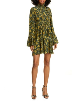 AMUR Sorah Floral Print Long Sleeve Silk Minidress