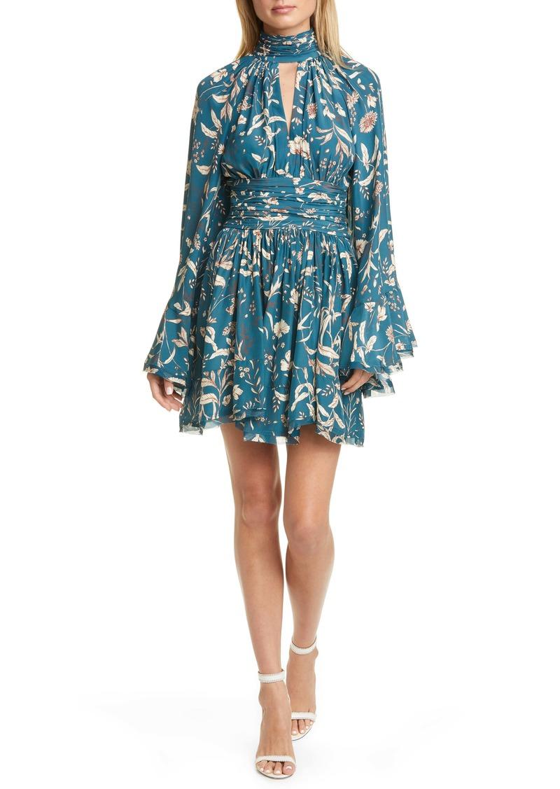 AMUR Tilda Floral Print Long Sleeve Silk Minidress
