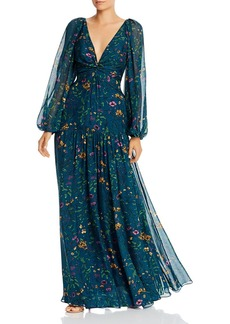 Amur Twist-Front Floral Silk Long Sleeve Maxi Dress