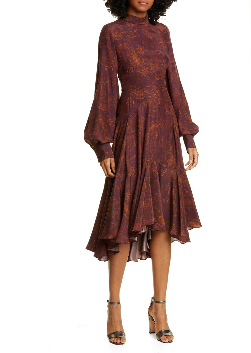 AMUR Wilder Paisley Long Sleeve Silk Dress