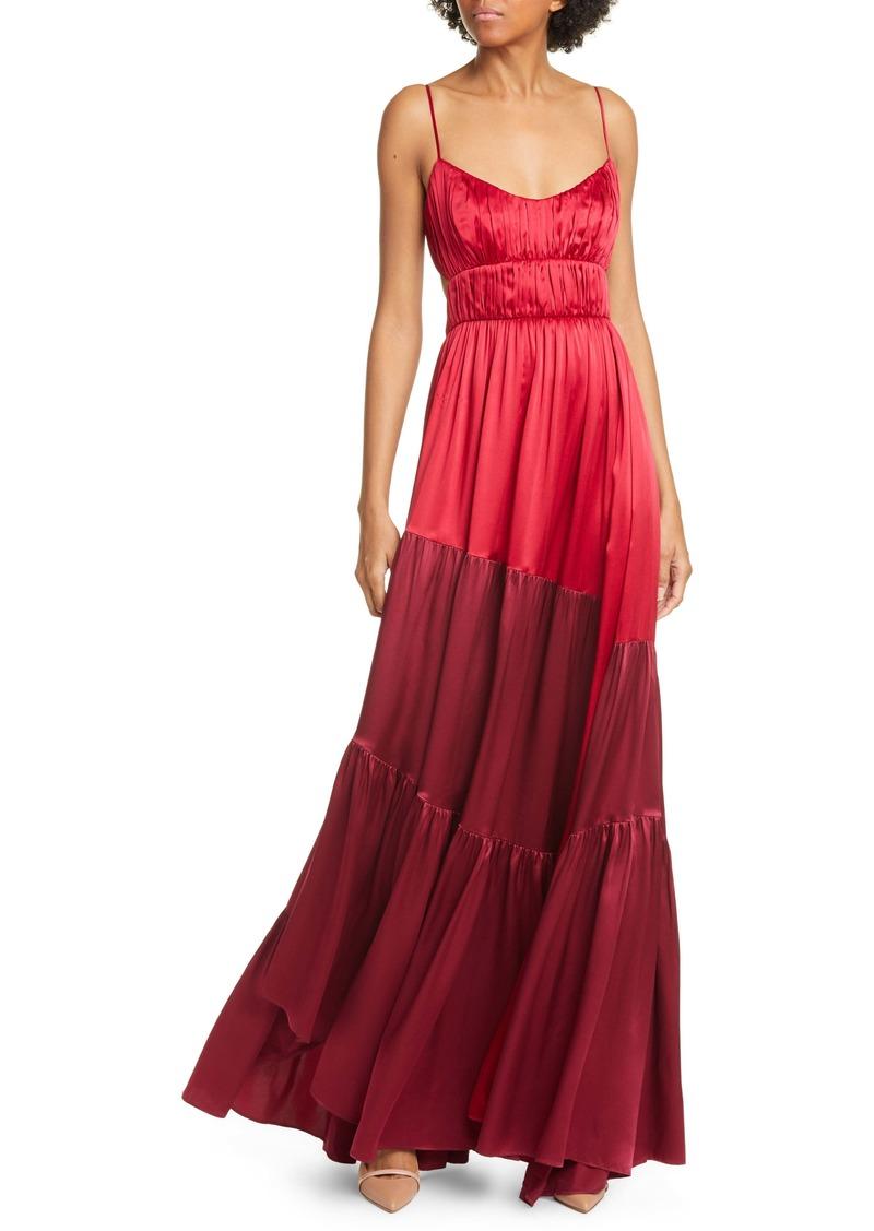 AMUR Zaidee Two-Tone Silk Maxi Dress
