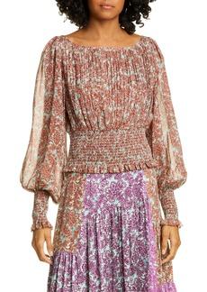 AMUR Zora Floral Smock Waist Pleated Silk Blouse