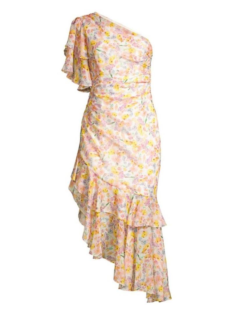 b7415b39d8 Amur Clayton Floral One-Shoulder Ruffle Dress