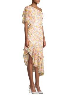 Amur Clayton Floral One-Shoulder Ruffle Dress