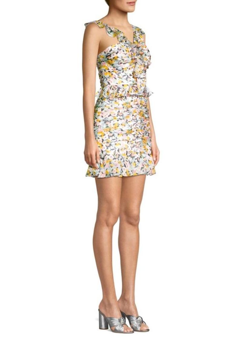31800366396 Amur Elyse Ruffled Silk Mini Dress
