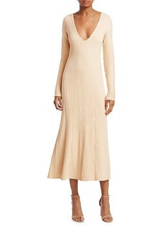Amur Fawn Rib-Knit V-Neck Midi Dress