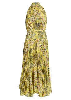 Amur Floral Pleated Halterneck Dress