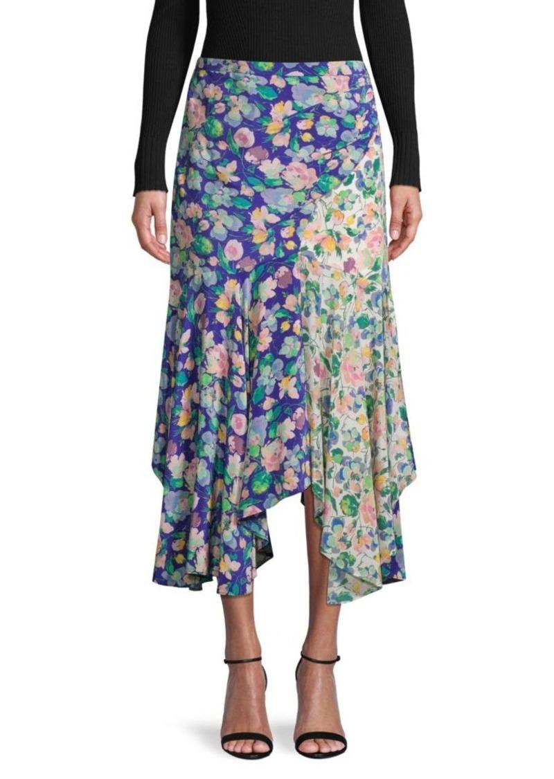 Amur Floral-Print Faux Wrap Silk Skirt