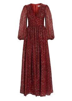 Amur Gemini Paisley Chiffon Maxi Dress