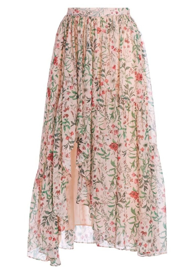Amur Genie Floral Silk Midi Skirt