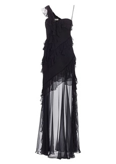 Amur Harlow One-Shoulder Ruffle & Sheer Gown