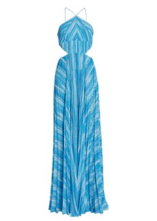 Amur Janet Pleated Striped Gown