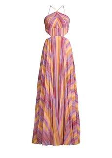 Amur Janet Striped Halter Gown