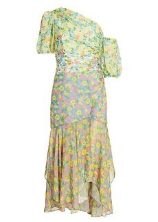 Amur Jaylah One-Shoulder Silk Combo Midi Dress