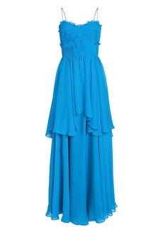 Amur Kiko Pleated Silk Chiffon Gown