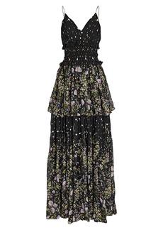 Amur Mariposa Sleeveless Tiered Gown