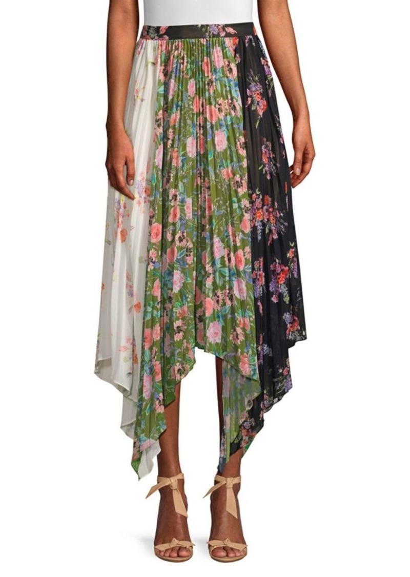 Amur Mica Floral Pleated Patchwork Handkerchief Midi Skirt