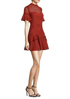 Amur Mila Lace Bell-Sleeve Mini Dress