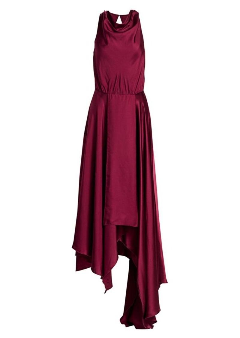 Amur Nikita Draped Asymmetric Silk Dress