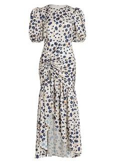 Amur Ruched Floral Maxi Dress