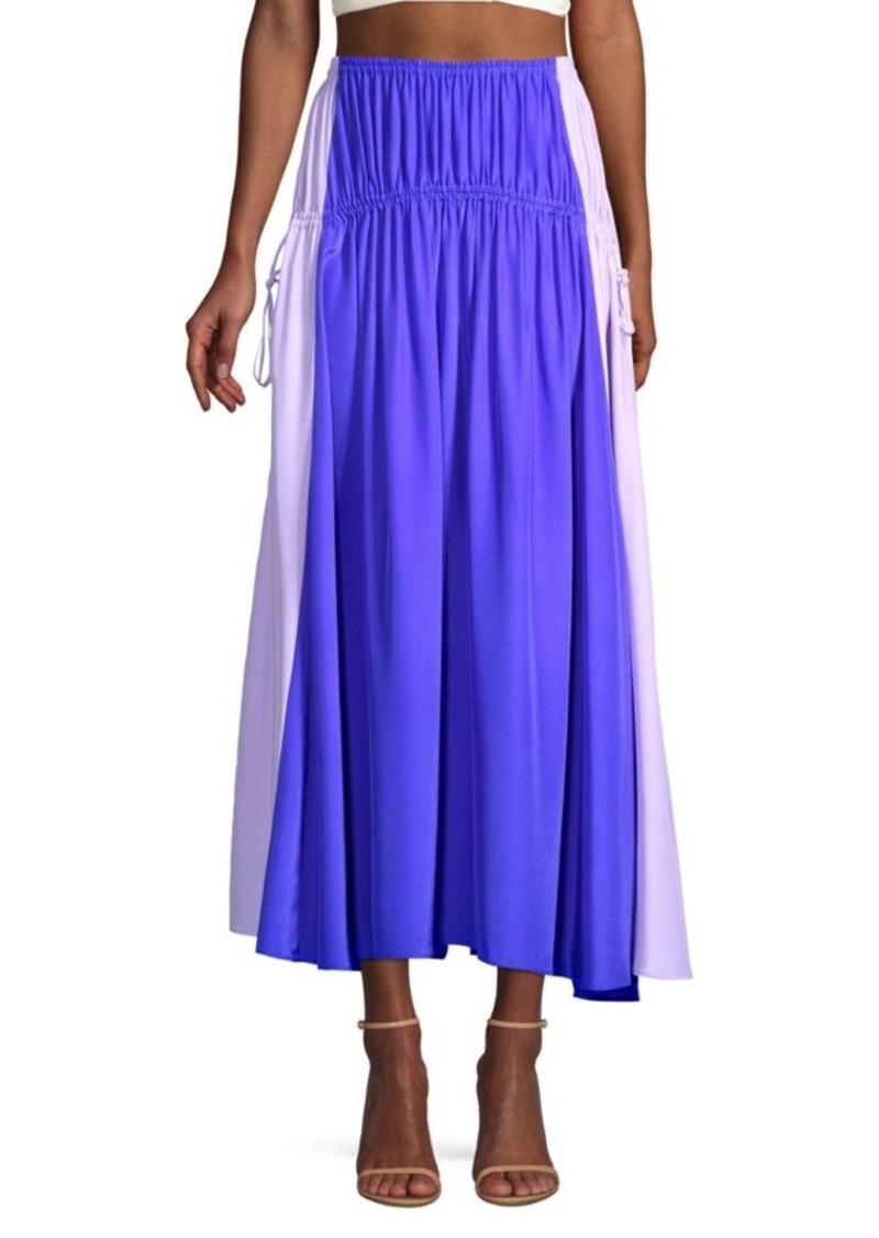 Amur Side-Tie Silk Midi Skirt