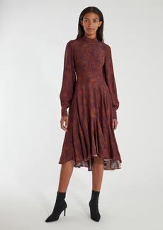 Amur Wilder Blouson Sleeve Silk Midi Dress - 00