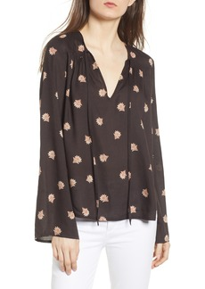Amuse Society Floral Print Tie Neck Top